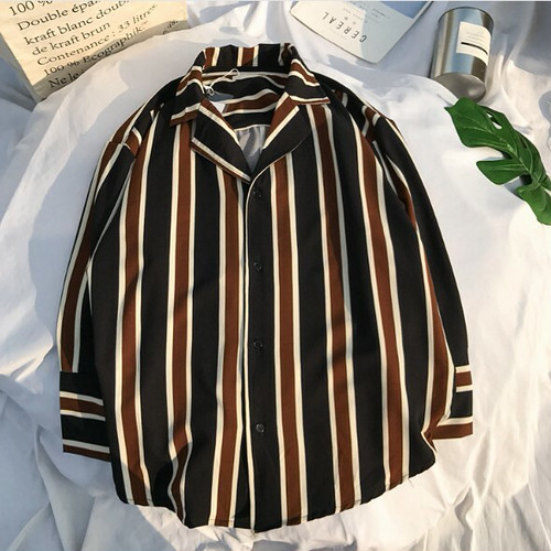 zvpa 870upk3 【XL/ブラック】ストライプシャツ シャツジャケット メンズ ストライプ シャツ ジャケット 縦縞 長袖 七分丈 カジュアル モダン シック おしゃれ