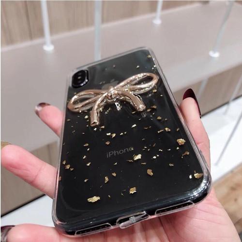 zvpa 1345kn05  【iPhoneX/XS】iPhoneケース iPhoneカバー スマホケース スマホカバー 透明 クリア ラメ 金粉 リボン ゴールド 傷防止 バックカバー 無地 シンプル スリム レディース かわ