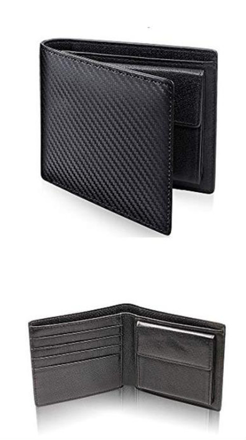 spab 932kn10 黒 二つ折り財布 小銭入れ コインケース 財布 レザー メンズ  カーボンレザー お札入れ