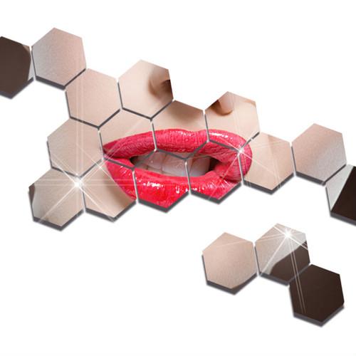 zvpa 1608upk2 【18×15.6×9cm】六角形 ミラー ハニカム ウォールステッカー ヘキサゴン 貼る 鏡 アクリルミラー 割れない 軽量 7枚入
