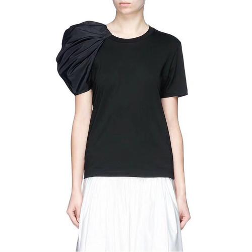 zfaa 059upk2 レディース Tシャツ 半袖 【黒・M】 きれいめ モード セクシー 春 夏 セミフォーマル トップス モード系