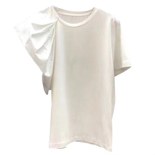 zfaa 060upk2 レディース Tシャツ 半袖 【白・M】 きれいめ モード セクシー 春 夏 セミフォーマル トップス モード系