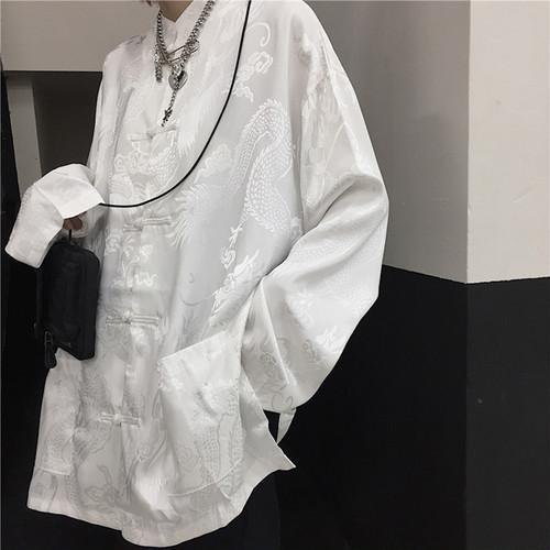 zaqa 398upk3 【ホワイト/M】龍柄チャイナ服風ジャケット 中国風ワンピーススーツ ドラゴンパターン レトロデザイン ゆったり ハーフ丈 ジャケット カンフー 組みひも チャイナボタン 男女兼用
