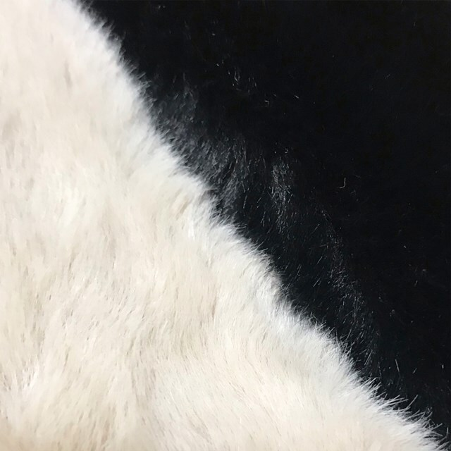 rkab 358upk3 [ブラック] 韓国デザイン フェイクファー リボン ニットマフラー 柔らか ネックウォーマー