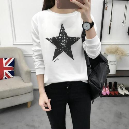spab 943upk3 Tシャツ トップス 長袖 インナー ロンT レディース 星柄デザイン Lサイズ おしゃれ
