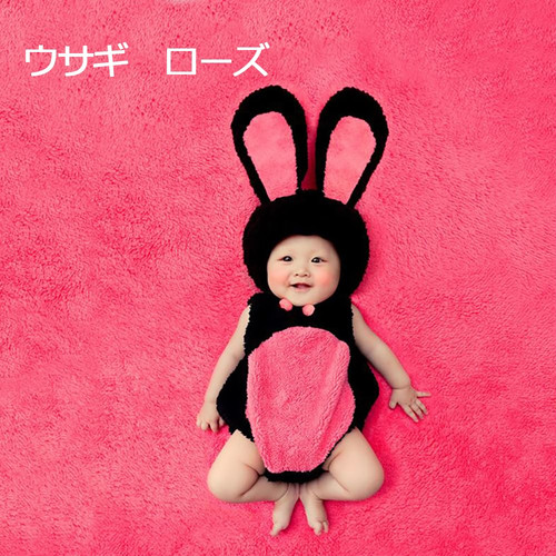 zgyx 034 【ローズウサギ】 ハロウィンベビー用 赤ちゃん 衣装 仮装 コスチューム 変装グッズ 子供 出産祝い 新生児 お誕生日 撮影 誕生記念 可愛い かわいい コスプレ 着ぐるみ 子供写真 男の子 女の子