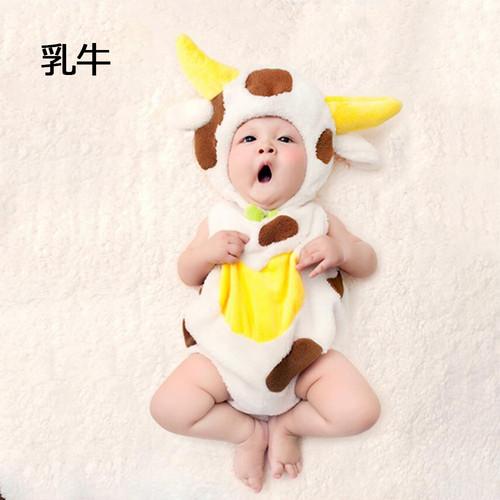 zgyx 035 【乳牛】ハロウィンベビー用 赤ちゃん 衣装 仮装 コスチューム 変装グッズ 子供 出産祝い 新生児 お誕生日 撮影 誕生記念 可愛い かわいい コスプレ 着ぐるみ 子供写真 男の子 女の子
