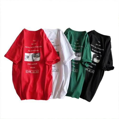 zbza 094upk2 【ブラック/2XLサイズ】オーバーサイズ 男女兼用 ストリート ルーズ 半袖 Tシャツ ビッグシルエット メンズ レディース バックフォト プリントクールネック