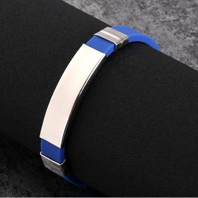 ymda 208kn05 ブレスレット メンズ シリコン ステンレス 青 ブルー シルバー プレゼント 金属アレルギー対応 シンプル