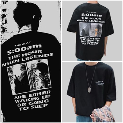 zaba 197upk3 【 ブラック・XL 】バックプリント Tシャツ メンズ レディース オーバーサイズ 黒 ストリート系 ビッグシルエット 韓国