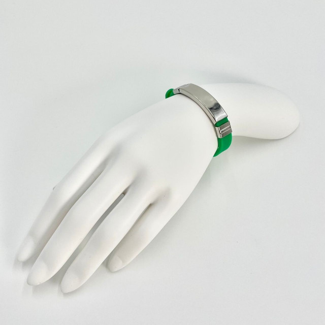 ymda 209kn05 ブレスレット メンズ シリコン ステンレス 緑 グリーン シルバー プレゼント 金属アレルギー対応 シンプル