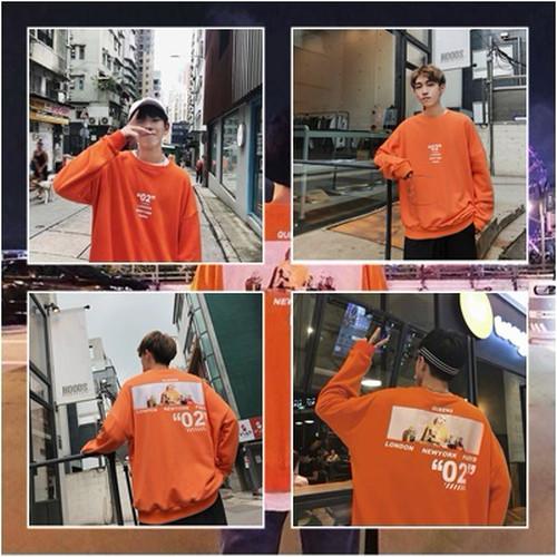 zbza 154upk3 【オレンジ/Lサイズ】オーバーサイズ プリント トレーナー カジュアル 男女兼用 ユニセックス ビッグシルエット メンズ レディース