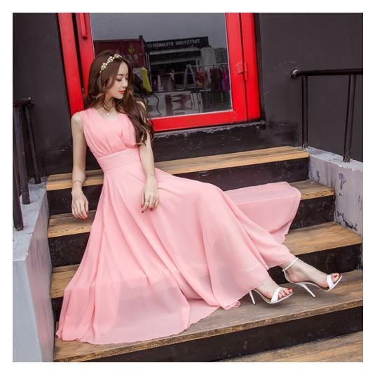 ngab 476upk3 レディース マキシワンピース M リゾートドレス ビーチドレス ピンク