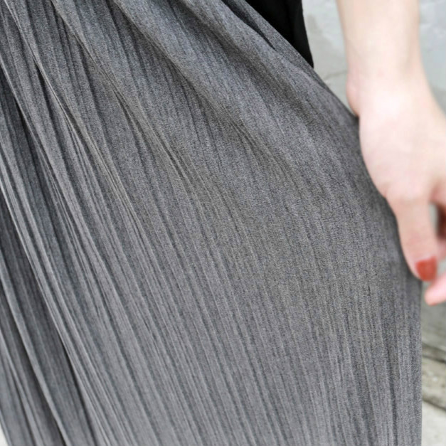 zvpa 081upk3 【グレー】  ロングスカート プリーツスカート マキシ丈 ハイウエスト 美脚 体型カバー シンプル 韓国ファッション レディース