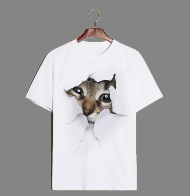 yhza 114upk1 猫パターン6(Mサイズ )Tシャツ トップス レディース メンズ ティーシャツ 半袖 アニマル 猫 動物 グラフィック キャット アート アメリカンショートヘア 子猫 不思議 白地 可愛い 癒し ペット リアル 写真風 春 夏 サマー 立体的風 面白い インパクト