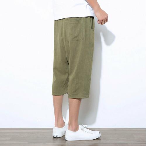 wnab 349upk3 L サルエルパンツ 緑 アーミーグリーン メンズ ハーフパンツ ショートパンツ 麻 夏 七分丈 調整紐