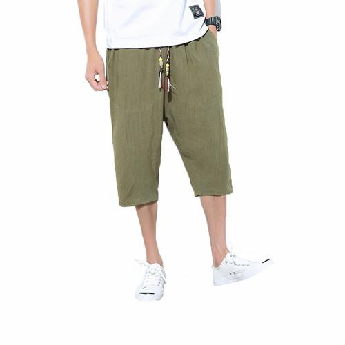 wnab 350upk3 XL サルエルパンツ 緑 アーミーグリーン メンズ ハーフパンツ サルエル ショートパンツ 麻 夏 七分丈 調整紐