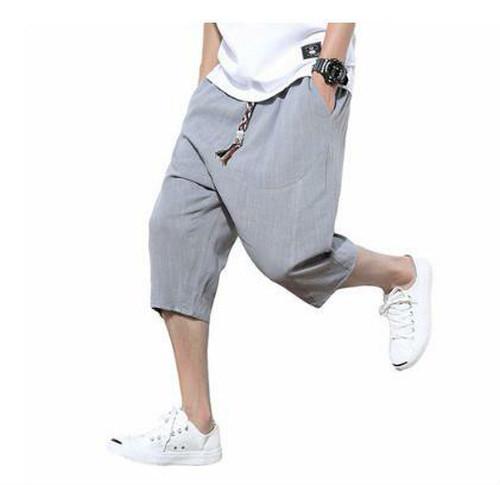 wnab 358upk3 3XL サルエルパンツ グレー メンズ ハーフパンツ ショートパンツ サルエル 麻 夏 七分丈 半ズボン おしゃれ 調整紐