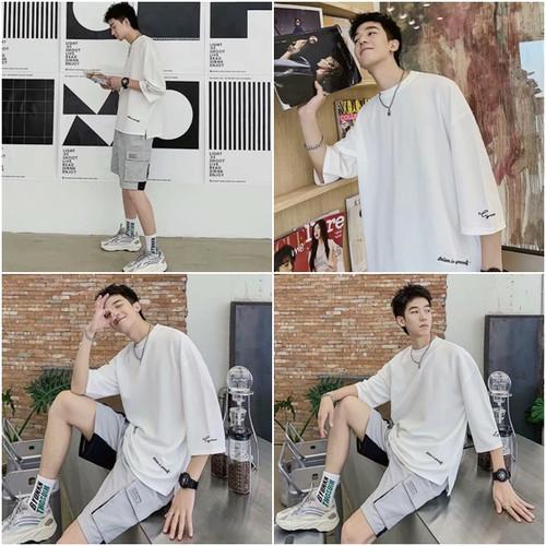 zbza 131upk3 ホワイト / XLサイズ】メンズ トップス 白 ビッグシルエット Tシャツ カットソー 七分袖 tシャツ 無地 クルーネック ゆったり オーバーサイズ ドロップショルダー ストリート系 ファッション