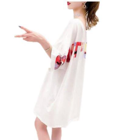 zxha 036upk3 【白 / フリーサイズ 】レディース トップス オーバーサイズ Tシャツ ロゴt バックプリント ロング丈tシャツ バッグロゴ 半袖 Vネック アルファベット ミニワンピ