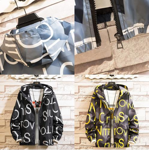 zvpa 1642upk3 【イエロー XL】ジャンパー ジャケット マウンテンパーカー カモフラージュ アルファベット メンズ 春 秋 軽い カジュアル ハンサム