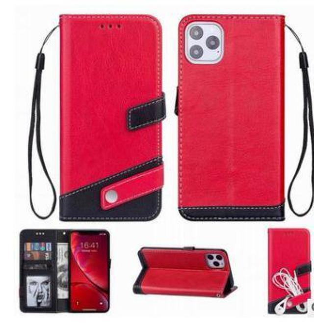yhza 122kn10(レッド)iphone 12/12pro ケース おしゃれ 手帳型 PUレザー 革 かっこいい カード収納 ストラップ付き iphone 12/12pro