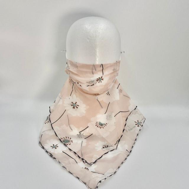 ymda 267kn05 大ぶり花柄スカーフ マスク フェイスカバー 爽やか スカーフ 保湿 ネックカバー レディース おしゃれ UV対策 紫外線対策 日焼け防止