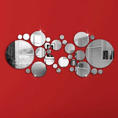 zvpa 1593upk1 ラウンドミラー ウォールステッカー 貼る 鏡 円形 おしゃれ 鏡面 アクリルミラー 割れない 安心 軽量 水玉