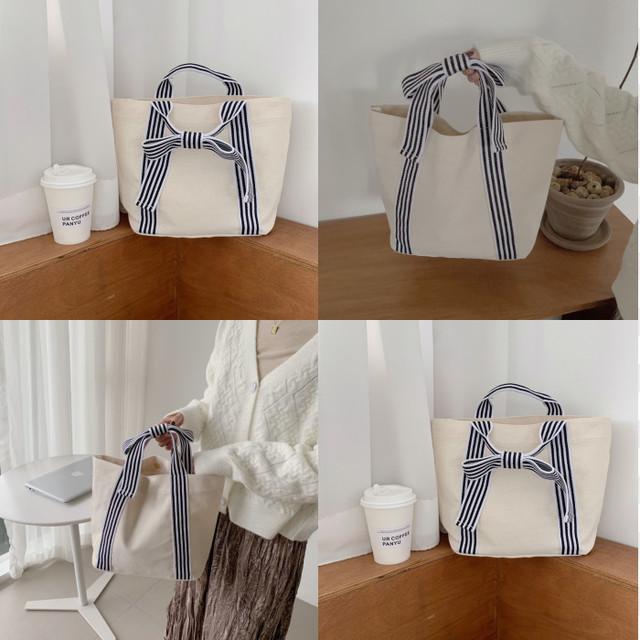ykua 001upk3 ホワイト シンプルデザイン 蝶結び かわいい おしゃれ キャンバス ストライプ リボン ハンドバッグ 韓国風 白