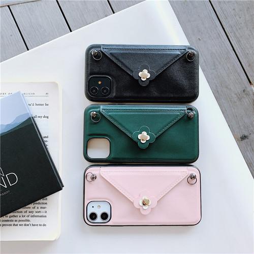 zvpa 1086kn10  【iPhoneX/XS ブラック】iPhoneケース ネックストラップ付き 封筒 シンプル フェミニン 上品 かわいい
