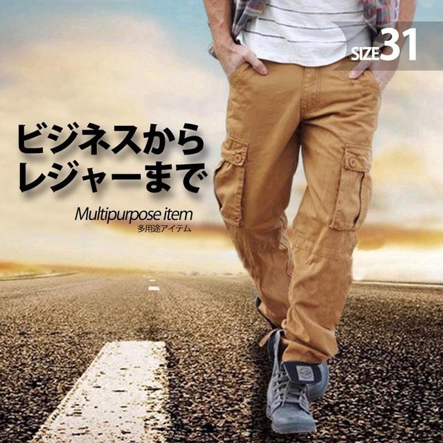zaqa 339tk1k 【カーキ/サイズ31】カーゴパンツ ビンテージ メンズ コットン 作業ズボン ワークパンツ ゆったり 多機能 ロングパンツ 綿 無地