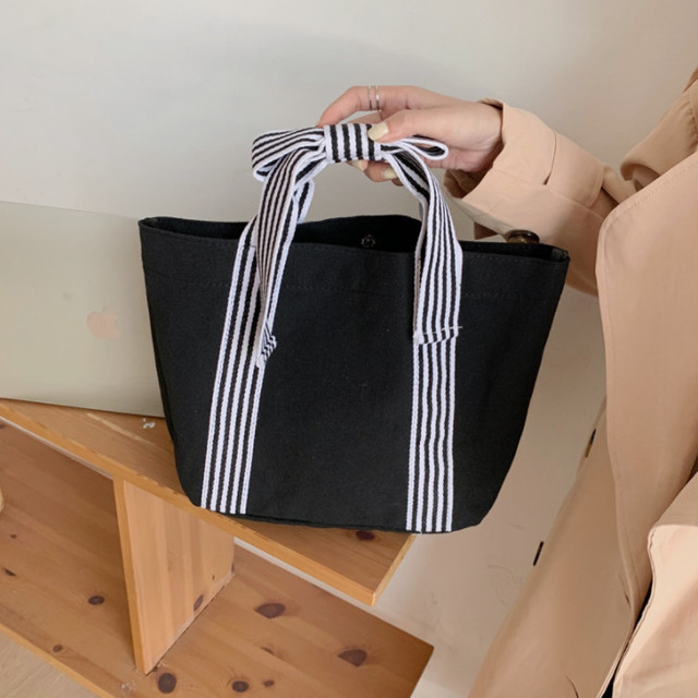 ykua 002upk3 ブラック シンプルデザイン 蝶結び かわいい おしゃれ キャンバス ストライプ リボン ハンドバッグ 韓国風 黒