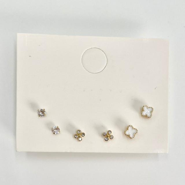 ymda 160kn05 四葉のクローバーピアスセット 白 ゴールド クリスタルガラス 3個セット 可愛い ピアス 大人女子 トレンド おしゃれ 誕生日 ギフト プレゼント