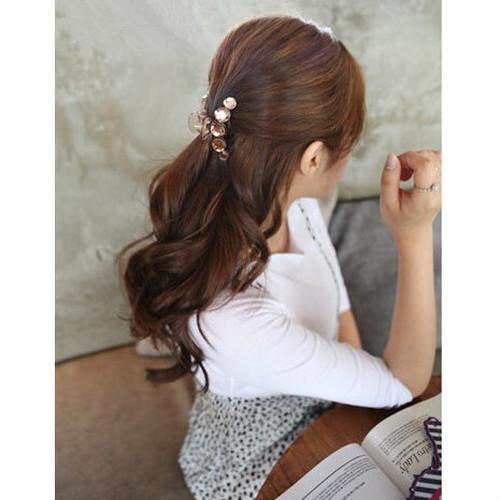 zvpa 1831tk05 【シャンパン】ヘアクリップ バンスクリップ ヘアアクセサリー ラインストーン 大粒 きらきら 上品 可愛い 髪留め まとめ髪