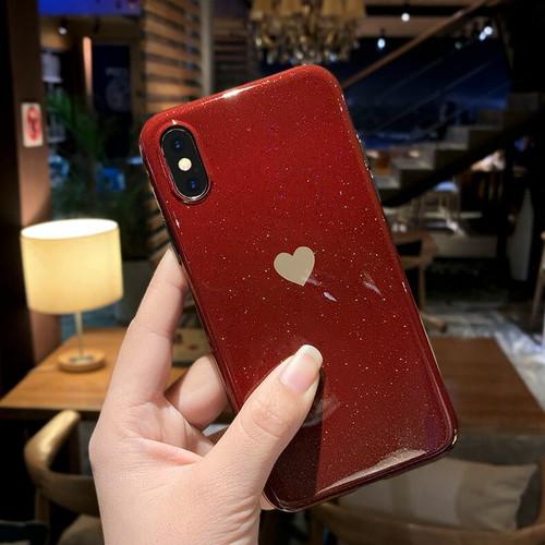 zvpa 1010kn05  【iPhoneX/XS ワインレッド】iPhoneケース ハート シンプル シリコン ソフト ラメ きらきら レディース