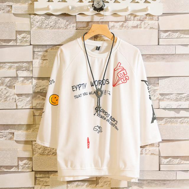 zaqa 651upk3 【ホワイト/M】イラストTシャツ 五分袖 学生 カジュアル ハーフスリーブ 快適 着心地ソフト 半袖 春 夏 tシャツ ポップ プリント スマイル メンズ レディース 白