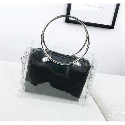 zvpa 1834tk25 【ブラック】クリアバッグ 2way ショルダーバッグ ミニバッグ コンパクト シンプル 透明 チェーンストラップ インナーポーチ 着脱可
