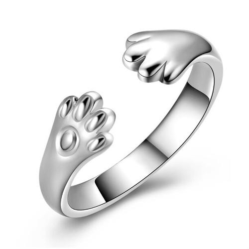 zvpa 1260kn05  【ホワイトゴールド】猫の手リング リング 指輪 肉球 猫雑貨オープンタイプ ジュエリー アクセサリー レディース プレゼント 可憐 おしゃれ 動物 猫