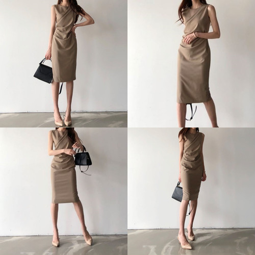 zbza 067upk3  【ブラウン/フリーサイズ】 フロントクロス ノースリーブ ワンピース ドレス シンプル エレガント ひざ丈 上品 きれいめ