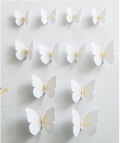 zcza 034upk3 3Dウォールステッカー おしゃれ壁紙 蝶々 ホワイト