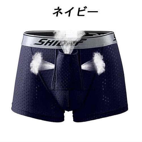 xmab 744upk3 ◆S【ブラック&ネイビー/3XL】【ボクサーパンツ】2色組(日本、L 相当)メンズ パンツ 前開き ドライ 陰嚢分離 爽やか感触 網ポケット付き 股間冷却 2枚組 2枚 セット ポジション キープ パンツ
