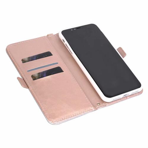 zvpa 1402kn10 【iPhoneX/XS /ライトグレー】iPhoneカバー PU 手帳型 カード入れ ストラップ付き スタンド機能 スター スマイル