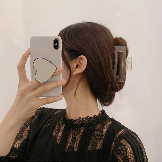 ymda 302tk50 スクエアタイプのクリアゴールドバンスクリップ ヘアクリップ 大きめ バレッタ まとめ髪 髪飾り ヘアアクセサリー ヘアピン 髪留め ヘアアレンジ アクセント レディース 大人かわいい 韓国 オルチャン ファッション