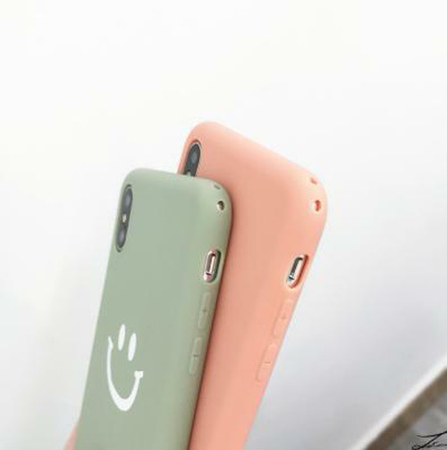 zvpa 189kn05 【iphoneX/XS グリーン】iphoneカバー スマイリー柄 マットソフトカバー 可愛い シンプル TPU ケース ニコちゃん