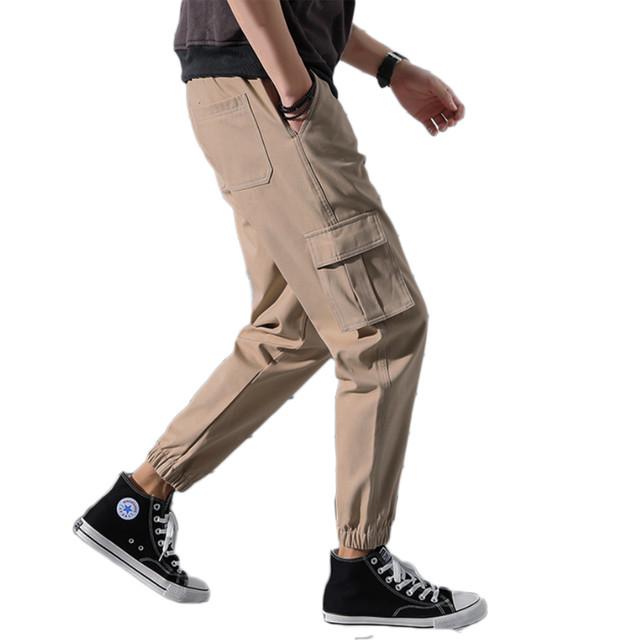 zaqa 363upk3 【ベージュ / XL】メンズ おしゃれ 細め カーゴパンツ カジュアルパンツ 綿パンツ ワークパンツ ジョガーパンツ コットンパンツ スポーツパンツ ズボン メンズパンツ ロングパンツ クロップドパンツ ストリート系 スタイリッシュ 男性 オールシーズン