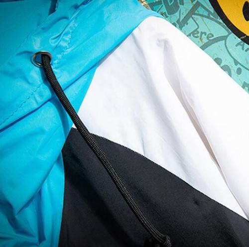 zvpa 845upk2 【L/ブラック】ウィンドブレーカー ジャンパー マウンテンパーカー ブルゾン ジャケット フード付 防風 防水 軽量 ビッグシルエット オーバーサイズ レディース メンズ マルチカラー おしゃれ かっ