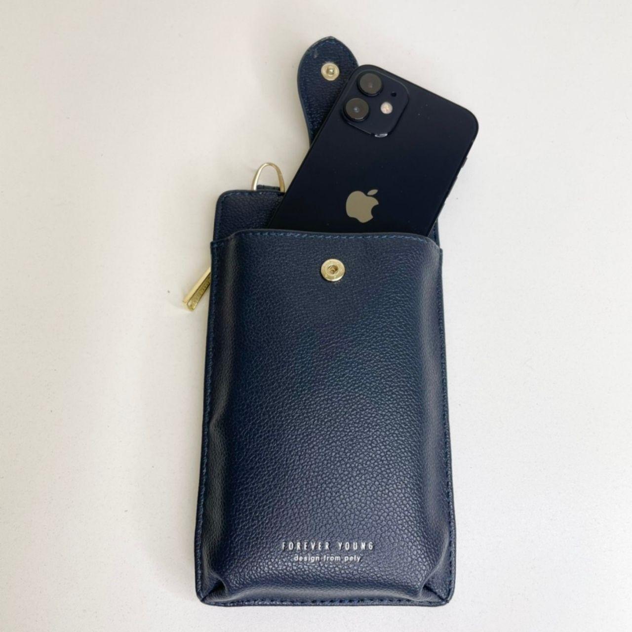 ymda 043upk3 スマホバッグ 紺 スマホケース スマホポーチ 手帳型 ケース iPhone スマートフォン カード入れ