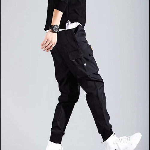zaqa 608upk3 【ブラック / XL】メンズ ストリート系 カーゴ ジョガーパンツ ヒップホップ ワークパンツ オールシーズン 黒ズボン クロップド