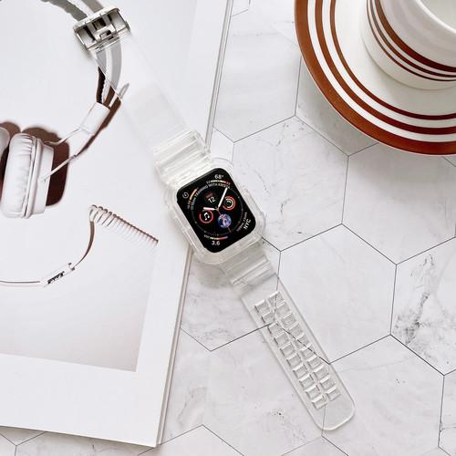 ygca 328kn05 AppleWatch アップルウォッチ バンド ベルト クリア スケルトン シースルー TPU