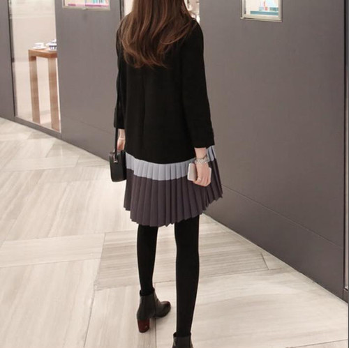 zvpa 1620upk3 【ブラック】ワンピース スカート プリーツスカート ワンピース バイカラー レディース 韓国 ファッション